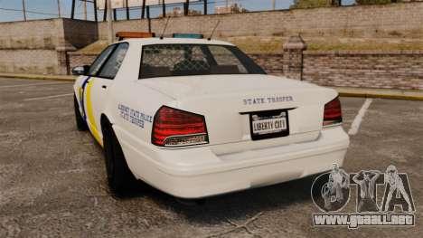 GTA V Police Vapid Cruiser Alderney state para GTA 4 Vista posterior izquierda