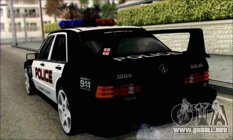 Mercedes-Benz 190E Evolution Police para GTA San Andreas vista posterior izquierda