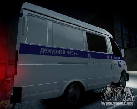 Policía gacela 2705 para GTA 4 vista hacia atrás