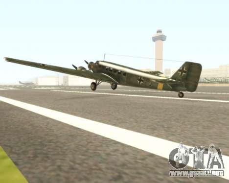Junkers Ju-52 para GTA San Andreas vista posterior izquierda