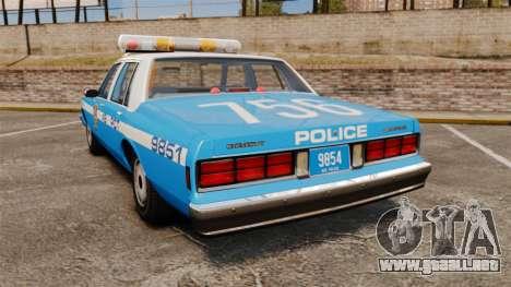 Chevrolet Caprice 1987 NYPD para GTA 4 Vista posterior izquierda