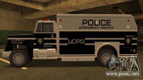Enforcer HD from GTA 3 para GTA San Andreas vista posterior izquierda