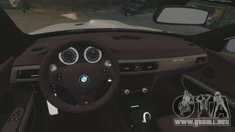 BMW M3 E92 GTS 2010 para GTA 4 vista interior