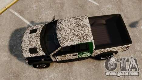 Ford F-150 SVT Raptor 2011 ArmyRat para GTA 4 visión correcta