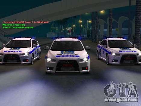 Mitsubishi Lancer X policía para GTA San Andreas left