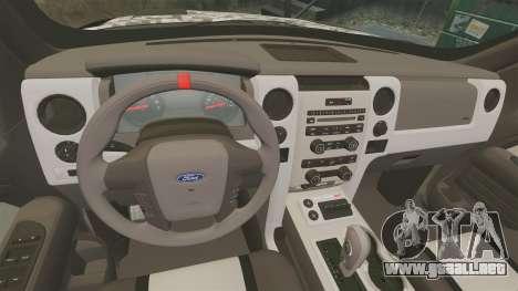 Ford F-150 SVT Raptor 2011 ArmyRat para GTA 4 vista interior