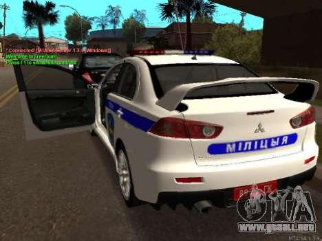 Mitsubishi Lancer X policía para la visión correcta GTA San Andreas