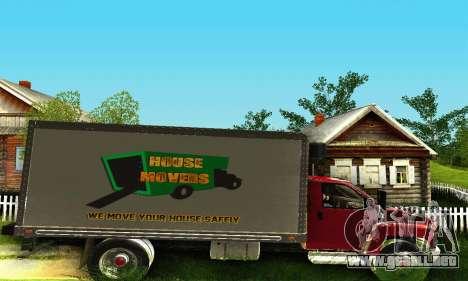 GMC Top Kick C4500 Dryvan House Movers 2008 para GTA San Andreas vista hacia atrás