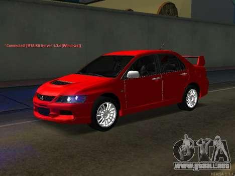 Mitsubishi Lancer Evo VIII para la visión correcta GTA San Andreas