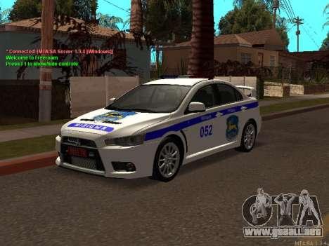 Mitsubishi Lancer X policía para GTA San Andreas