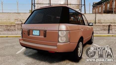 Range Rover TDV8 Vogue para GTA 4 Vista posterior izquierda