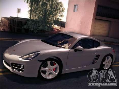 Porsche Cayman S 2014 para GTA San Andreas vista posterior izquierda