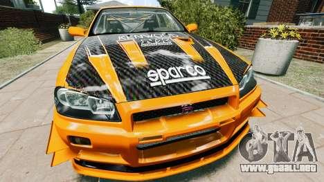 Nissan Skyline R34 GT-R NFS Underground para GTA 4 visión correcta