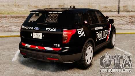 Ford Explorer 2013 Utility - Slicktop [ELS] para GTA 4 Vista posterior izquierda