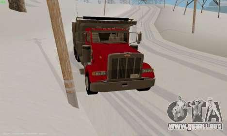 Peterbilt 379 Dump Truck para GTA San Andreas vista hacia atrás