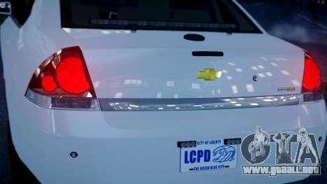 Chevy Impala Unmarked 2010 para GTA 4 Vista posterior izquierda