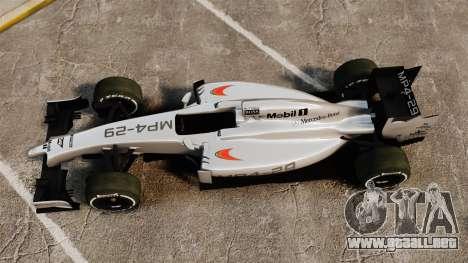 McLaren MP4-29 para GTA 4 visión correcta