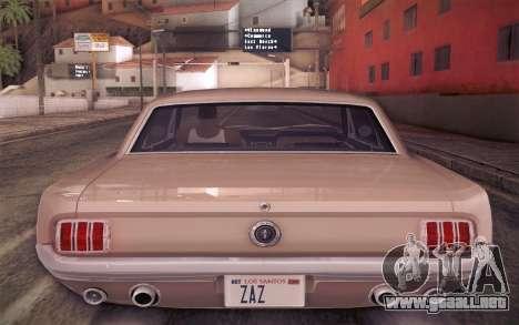 Ford Mustang GT 289 Hardtop Coupe 1965 para vista inferior GTA San Andreas