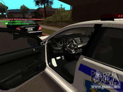 Mitsubishi Lancer X policía para GTA San Andreas vista posterior izquierda