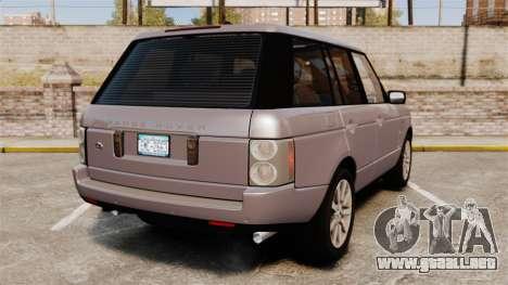 Range Rover Supercharged para GTA 4 Vista posterior izquierda