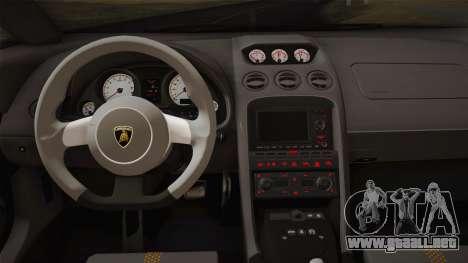 Lamborghini Gallardo Superleggera para GTA San Andreas interior