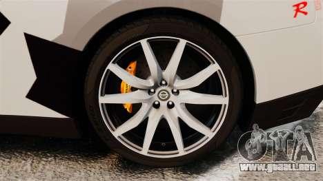 Nissan GT-R Black Edition 2012 Ski Slope Camo para GTA 4 vista hacia atrás