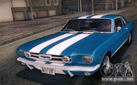Ford Mustang GT 289 Hardtop Coupe 1965 para GTA San Andreas interior