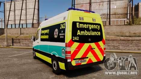 Mercedes-Benz Sprinter Australian Ambulance ELS para GTA 4 Vista posterior izquierda