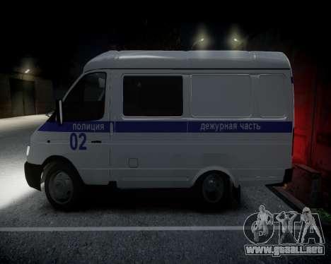 Policía gacela 2705 para GTA 4 Vista posterior izquierda