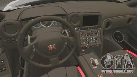 Nissan GT-R Black Edition 2012 Ski Slope Camo para GTA 4 vista interior