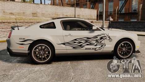 Ford Mustang 2012 Boss 302 Fiery Horse para GTA 4 left