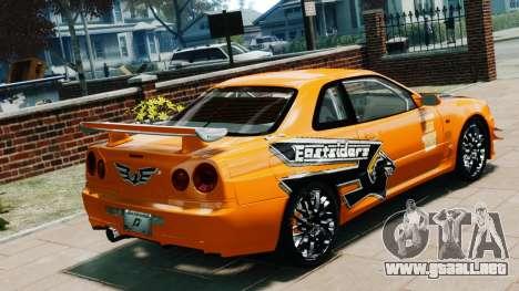 Nissan Skyline R34 GT-R NFS Underground para GTA 4 left