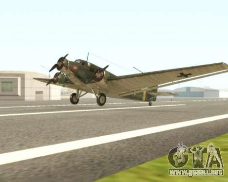 Junkers Ju-52 para GTA San Andreas left