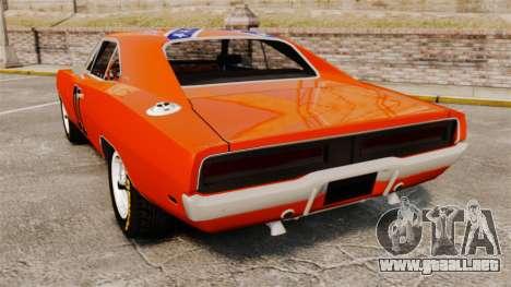 Dodge Charger 1969 General Lee v2.0 HD Vinyl para GTA 4 Vista posterior izquierda