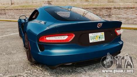 Dodge Viper SRT GTS 2013 para GTA 4 Vista posterior izquierda