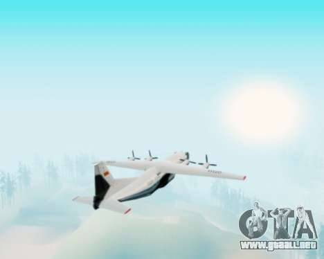 El an-12 Aeroflot para GTA San Andreas vista hacia atrás
