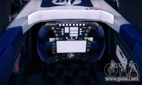 BMW Williams F1 para vista inferior GTA San Andreas