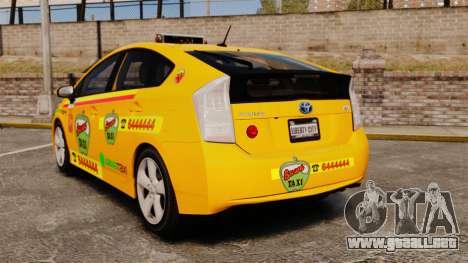 Toyota Prius 2011 Warsaw Taxi v1 para GTA 4 Vista posterior izquierda
