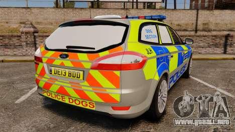 Ford Mondeo Metropolitan Police [ELS] para GTA 4 Vista posterior izquierda