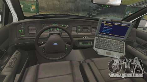 Ford Crown Victoria 1999 LAPD & GTA V LSPD para GTA 4 vista hacia atrás
