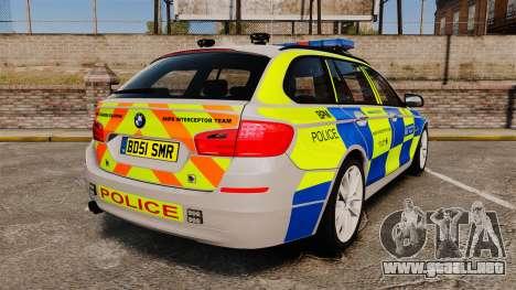 BMW 550d Touring Metropolitan Police [ELS] para GTA 4 Vista posterior izquierda