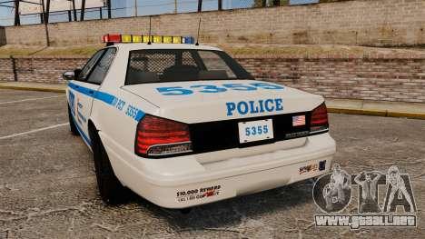 GTA V Vapid Police Cruiser NYPD para GTA 4 Vista posterior izquierda