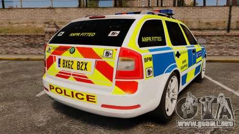 Skoda Octavia Scout RS Metropolitan Police [ELS] para GTA 4 Vista posterior izquierda