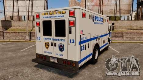 Hazmat Truck LCPD [ELS] para GTA 4 Vista posterior izquierda
