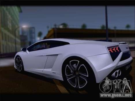 Lamborghini Gallardo 2013 para GTA San Andreas vista hacia atrás
