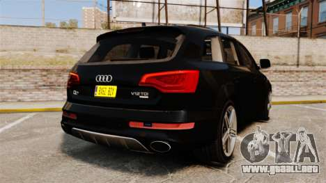 Audi Q7 Unmarked Police [ELS] para GTA 4 Vista posterior izquierda