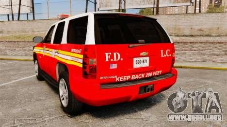 Chevrolet Tahoe Fire Chief v1.4 [ELS] para GTA 4 Vista posterior izquierda