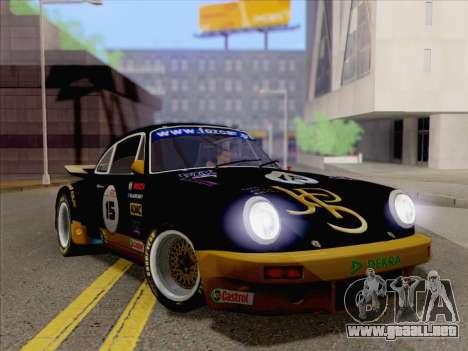 Porsche 911 RSR 3.3 skinpack 2 para GTA San Andreas vista posterior izquierda