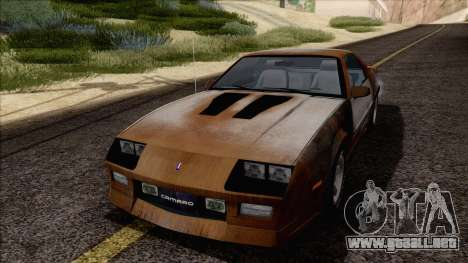 Chevrolet Camaro IROC-Z 1989 FIXED para la vista superior GTA San Andreas
