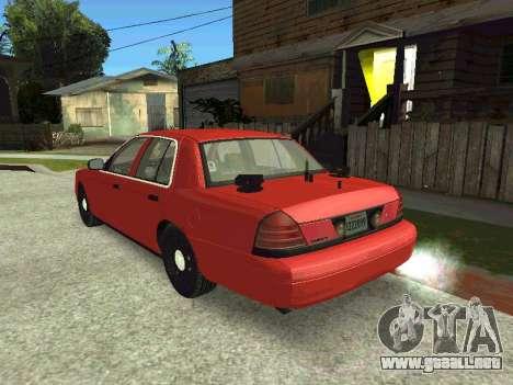 Ford Crown Victoria Unmarked Police para GTA San Andreas vista posterior izquierda